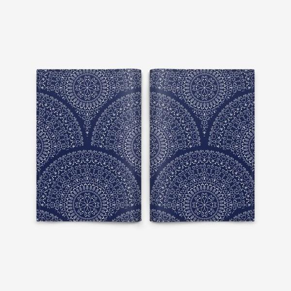 Обложка для паспорта «Синий узор с мандалами»