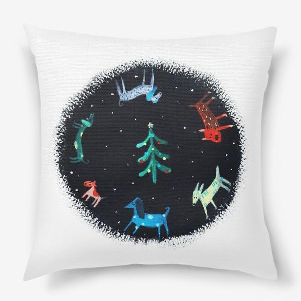 Подушка «Собаки новогодние»