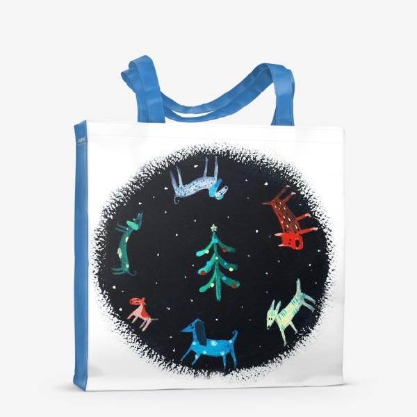 Сумка-шоппер «Собаки новогодние»