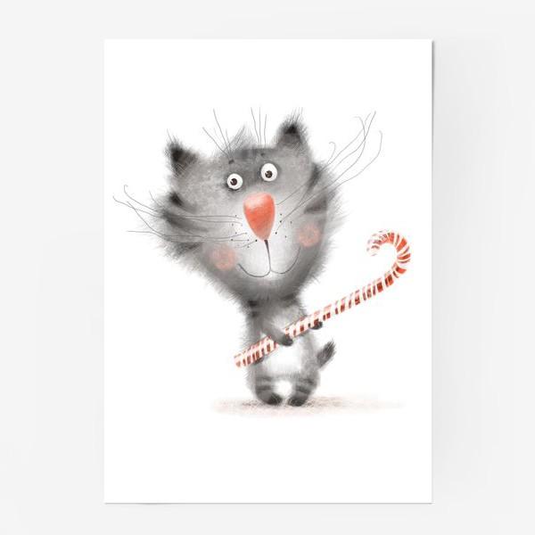 Постер «Котик с карамелькой»