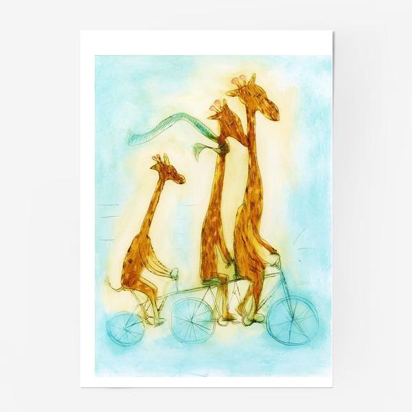 Постер «жирафы на велосипеде»