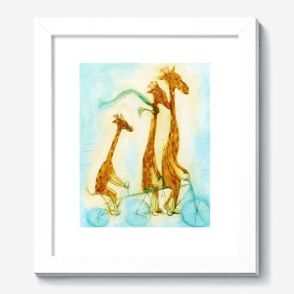 Картина «жирафы на велосипеде»