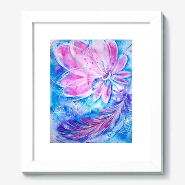 Картина «Розовый цветок и перо»
