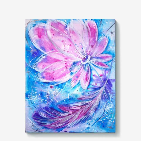 Холст «Розовый цветок и перо»