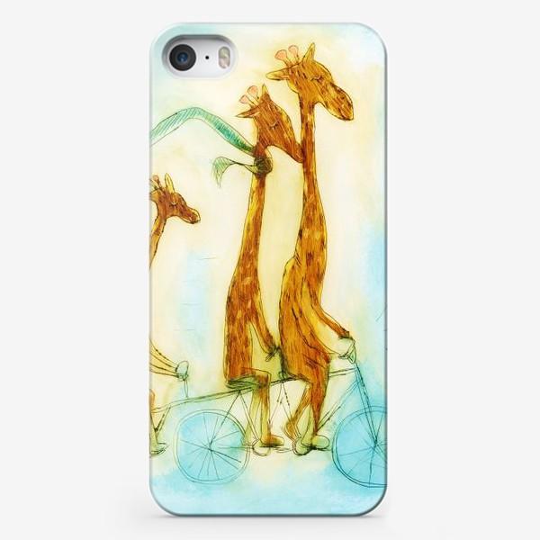 Чехол iPhone «жирафы на велосипеде»