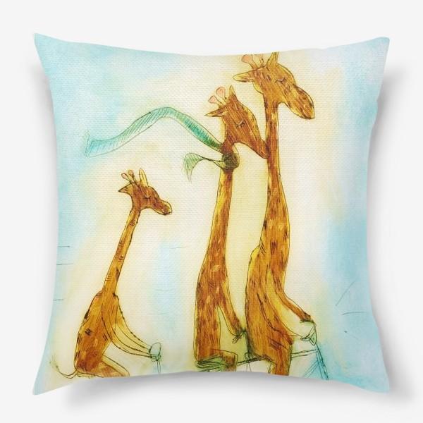 Подушка «жирафы на велосипеде»