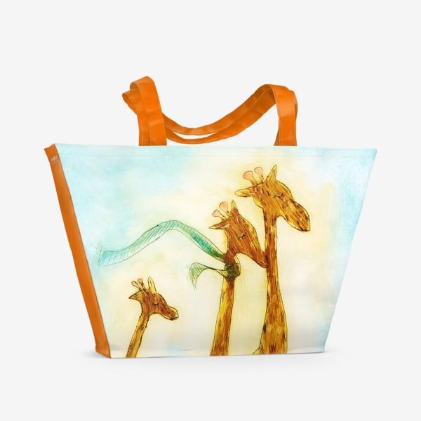 Пляжная сумка «жирафы на велосипеде»