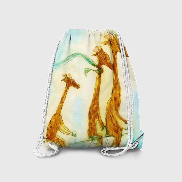 Рюкзак «жирафы на велосипеде»