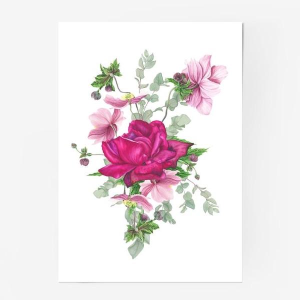 Постер «Цветочная композиция с розой и анемонами»