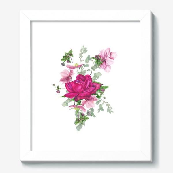 Картина «Цветочная композиция с розой и анемонами»