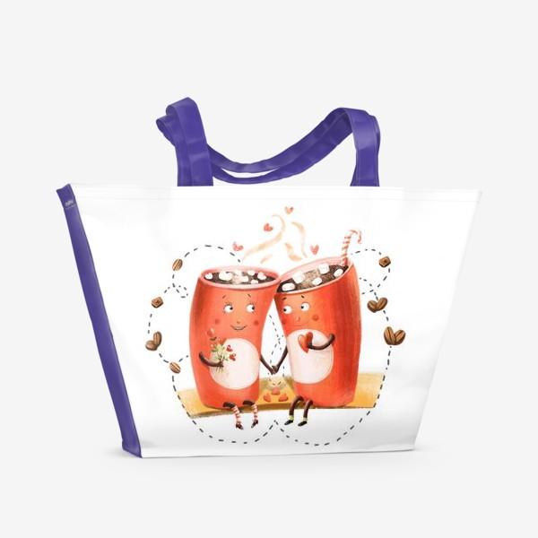 Пляжная сумка «Любовь и кофе»