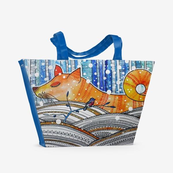 Пляжная сумка «Лиса в зимнем лесу»