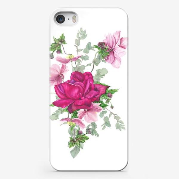 Чехол iPhone «Цветочная композиция с розой и анемонами»