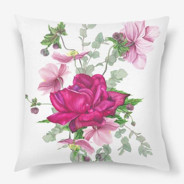Подушка «Цветочная композиция с розой и анемонами»
