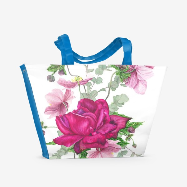 Пляжная сумка «Цветочная композиция с розой и анемонами»