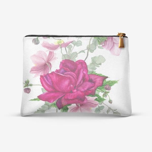 Косметичка «Цветочная композиция с розой и анемонами»