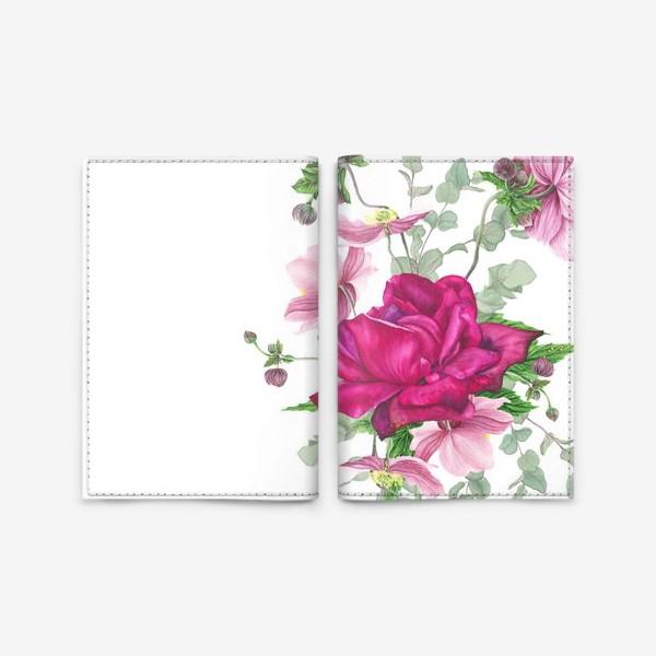 Обложка для паспорта «Цветочная композиция с розой и анемонами»