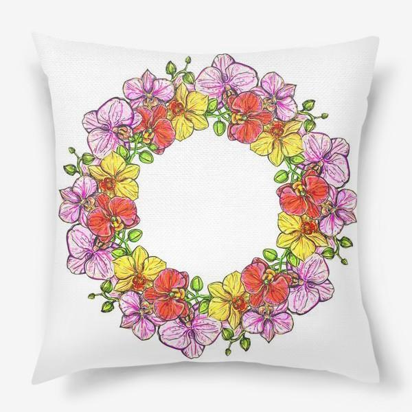 Подушка «венок орхидей»