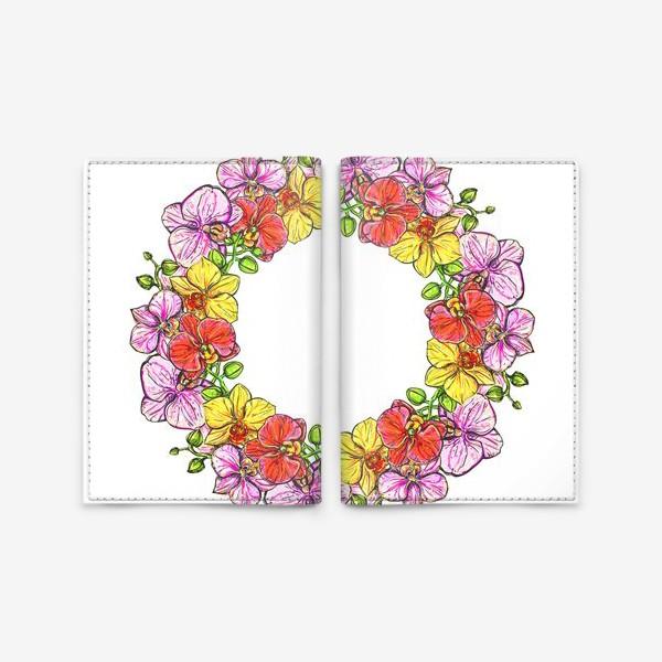 Обложка для паспорта «венок орхидей»