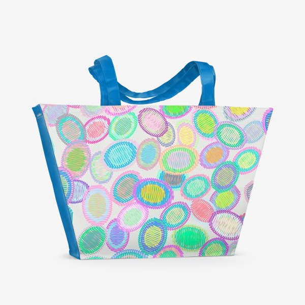 Пляжная сумка «Абстрактные полосатые овалы»