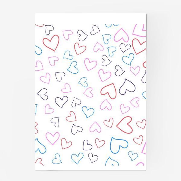 Постер «Сердечки разноцветные»