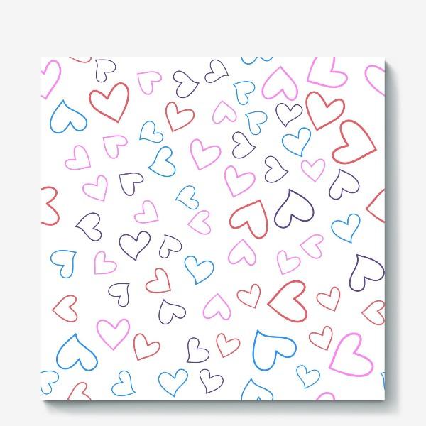 Холст «Сердечки разноцветные»