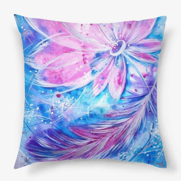 Подушка «Розовый цветок и перо»