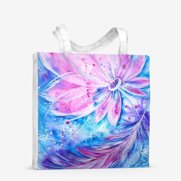 Сумка-шоппер «Розовый цветок и перо»