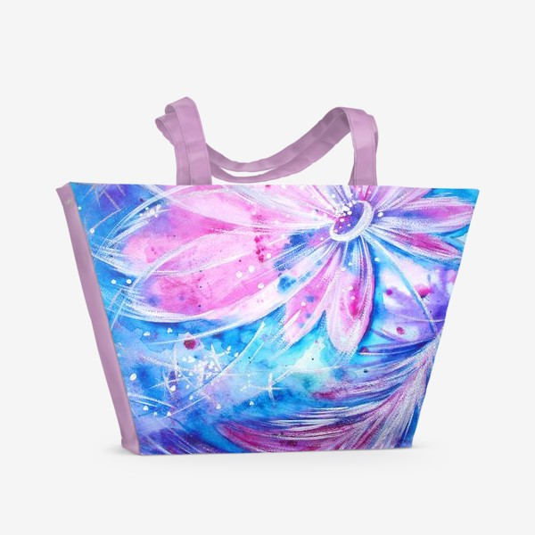 Пляжная сумка «Розовый цветок и перо»