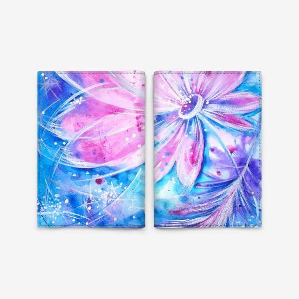 Обложка для паспорта «Розовый цветок и перо»