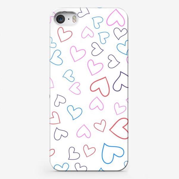 Чехол iPhone «Сердечки разноцветные»