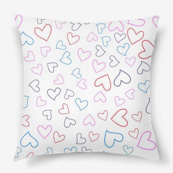 Подушка «Сердечки разноцветные»