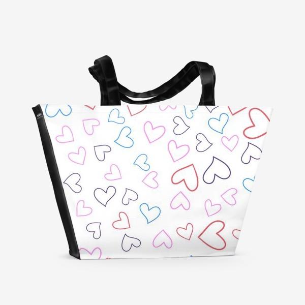 Пляжная сумка «Сердечки разноцветные»