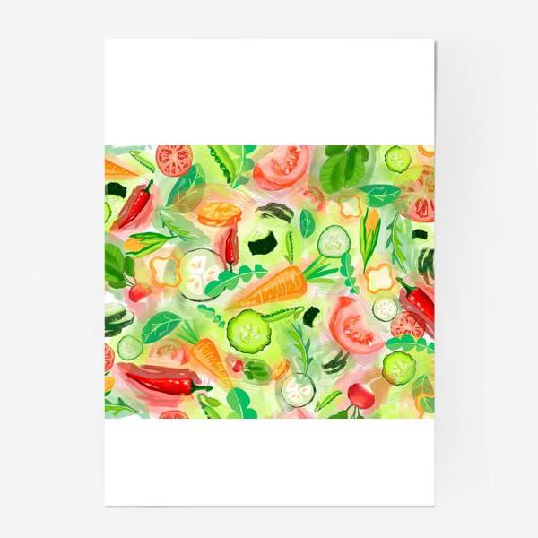 Постер «Овощи витамины vegetables огурец помидор перец зелень»