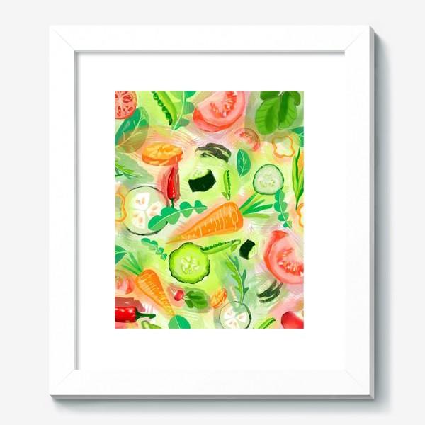 Картина «Овощи витамины vegetables огурец помидор перец зелень»
