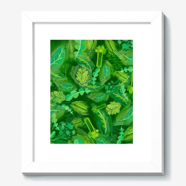Картина «Кухня еда зелень шпинат сельдерей укроп »