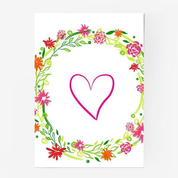 Постер «Венок из цветов сердце любовь романтика »