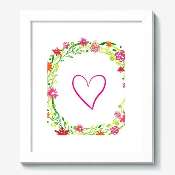 Картина «Венок из цветов сердце любовь романтика »