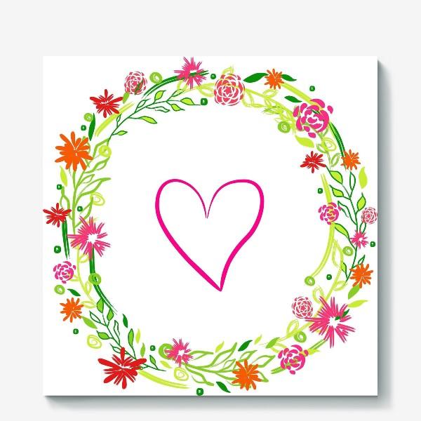 Холст «Венок из цветов сердце любовь романтика »