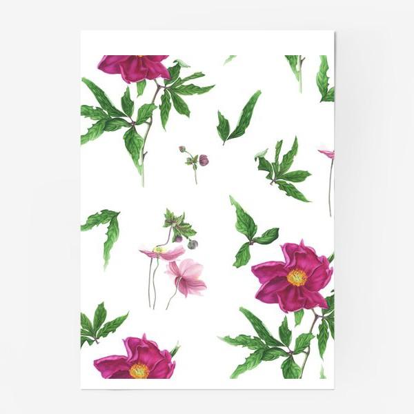 Постер «Розовые пионы и анемоны с листьями»