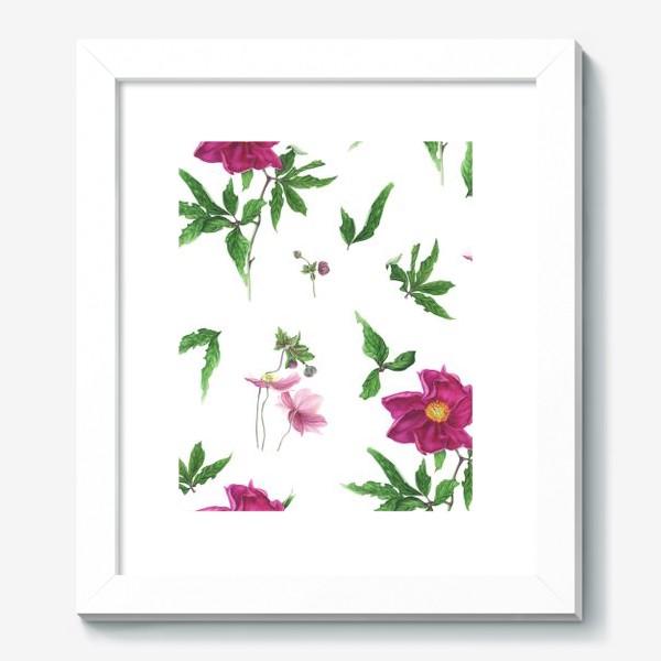 Картина «Розовые пионы и анемоны с листьями»