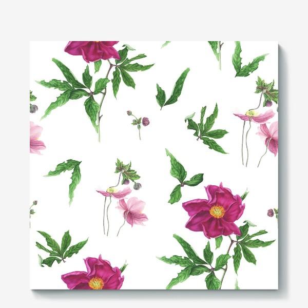 Холст «Розовые пионы и анемоны с листьями»