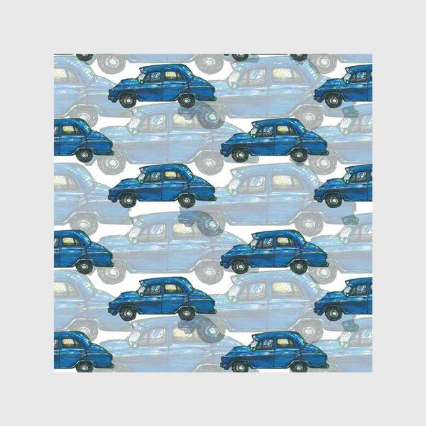Шторы «Авто тачки машины синий паттерн »