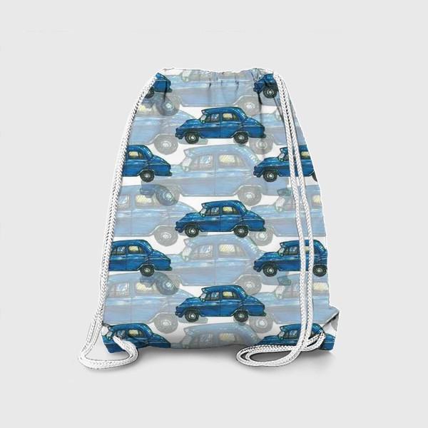 Рюкзак «Авто тачки машины синий паттерн »