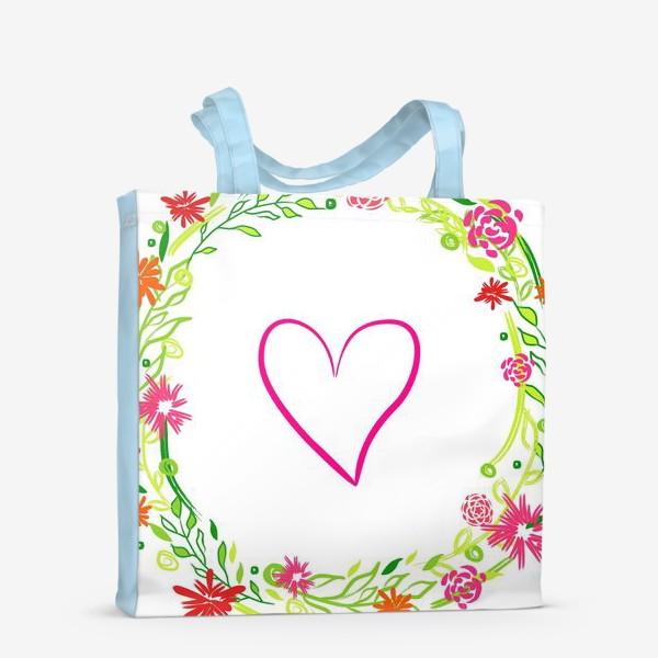 Сумка-шоппер «Венок из цветов сердце любовь романтика »