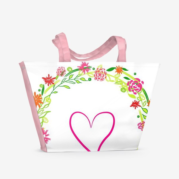Пляжная сумка «Венок из цветов сердце любовь романтика »