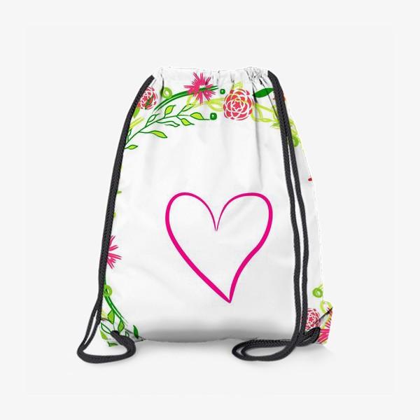 Рюкзак «Венок из цветов сердце любовь романтика »
