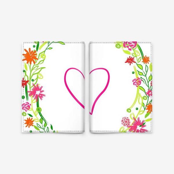 Обложка для паспорта «Венок из цветов сердце любовь романтика »