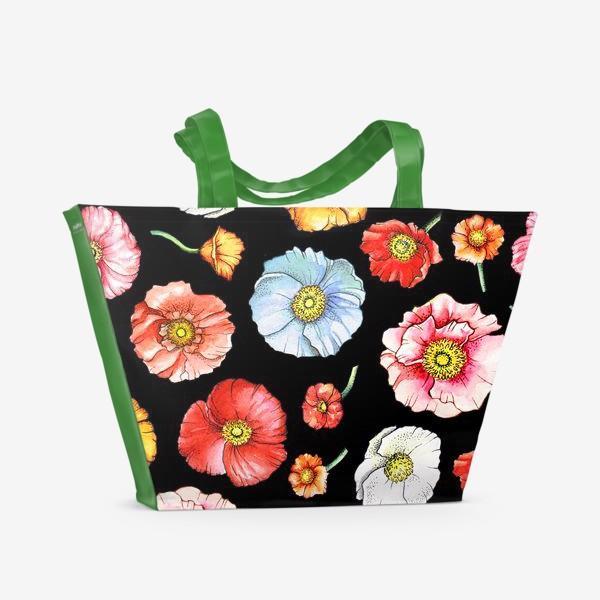 Пляжная сумка «Маки на черном»