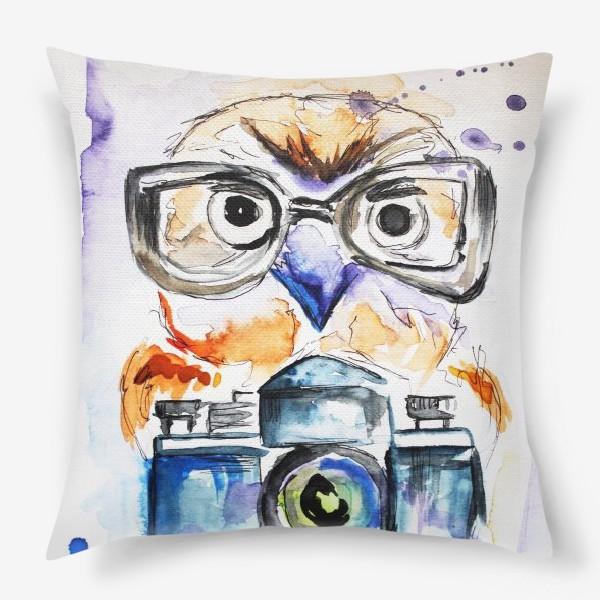 Подушка «Сова и фотоаппарат »